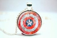 american shields - 10pcs Superhero Captain America shield Art Print NECKLACE Glass Photo Cabochon Necklace