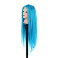 Wholesale Fashion Hair Color Long Synthetic Hair Hairdressing Training Head Dummy Model Mannequin Cut with Clamp styling tools