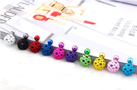nail studs - Two sided Balls Earring Studs Bubbles Hollow out Front and Back Earrings Mixedlot double side Backing Ear Nail on Sale