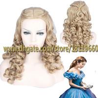 adult hair wave - 2015 Newest Cinderella Adult Beautiful Hair Wigs Midsplit Bangs Long Natural Wave Hairstyle Heat Resistant Cosplay Wig with Braids