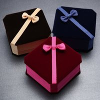 Wholesale High grade Bracelets jewelry box Bow velvet box Square Jewelry Packaging boxes Velvet Jewelry Boxes colors mixed