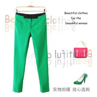 Wholesale 2013 autumn and winter female new color candy colored stitching elastic waist pants slacks trousers