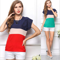 Wholesale S XXXLSize New Women Summer Blouses t Shirts Stripe Chiffon Blouse Roupas Femininas Short Sleeve Casual Tops Shirt Blusas