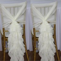 Wholesale Elegant Europe Styles White Chair Sash with Big D Chiffon Delicate Wedding Decorations Chair Covers Chair Sashes Wedding Accessories