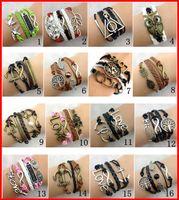 Wholesale 30pcs Designs Stock Women Leather Bracelet Antique Cross Anchor Love Peach Heart Owl Bird Believe Pearl Knitting Bronze Charm Bracelets