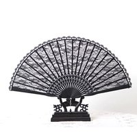 Wholesale 500pcs Victorian Black Flower Lace Handfan Folding Bamboo Fan Party Dance Favor cm Long H126