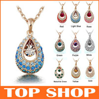 South American american jewellry - HOT SALE Gold Chain Austrian Crystal Jewellry Pendant Necklace Fashion Diamond Necklace Alloy Angel Tears ZB0104