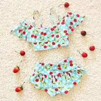 Wholesale 2016 Girls Swimwear with Cherry Print Kids Two Pieces Swimsuit Bikini Biquini Infantil Ruffles Girls Beachwear Bath Maillot De Bain