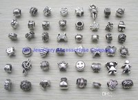Wholesale mix style antique silver plated Big Hole Loose alloy Beads fit European Pandora Jewelry Braclet Charms DIY