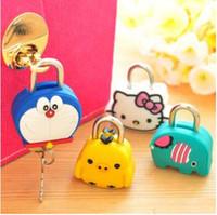Wholesale 500pcs Models Cute Animal Creative fashion cute padlock Cartoon silicone metal mini lock DHL In stock