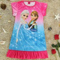nighties - New Arrival Disnep Frozen Children s Pyjama Girls Pyjama Kid s Cartoon Girl Dress Colors Size Anna Elsa Kid Nightie Party Wear R
