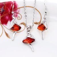 ballet items - Hot Jewelry Set Innovative Items Wot Ballet Girl Austrian Crystal Pendant Jewelry Big Choker Ballerinas Long Necklace Earrings
