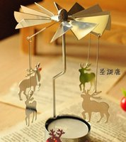 Wholesale Fashion Hot Revolving door Windmill Rotation Candlestick Candleholder Candle Tea Light Holder holiday gift