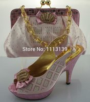 Wholesale Sweet style Pink woman cm heels italian matching shoes and bags set party lady shoe and bag set with rhinestones ME0010 PINK