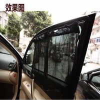 Wholesale 2Pcs set New Black Mesh Fabric Car Auto DSB83 Window Curtain Sunshade Set UV Protection Side Window Curtain size about cm