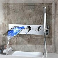 bathtub construction - Luxurious Design Brass Construction Chrome Finished Wall Mounted LED Bathtub Faucet Mixer Taps style bathroom faucets