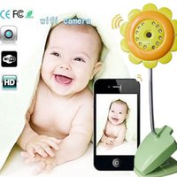 Wholesale DHL P2P Flower wifi camera baby monitor Night vision IP camera monitor supports IOS Android smartphone ipad