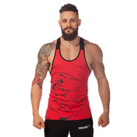 gym vests men - Hot Selling Cotton Men Gym Clothes Shark Tank Tops Stringer Singlets Fitness Gorilla Wear Sleeveless Shirt Sports Vests For Bodybuilding