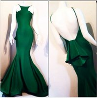 Wholesale New Arrival Backless Prom Dresses Spaghetti Straps Long Length Mermaid Spandex Ruffles Tiered Evening Party Prom Dress