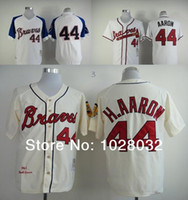 milwaukee - 2016 New TOP Quality Milwaukee Braves Jersey Hank Aaron Jersey White Cream Retro Baseball Jersey Embroidery logo Cheap