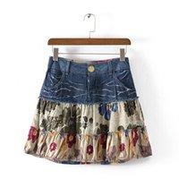Wholesale 2016 New Fasion Women Summer Skirt Casual Denim patchwork Above Knee Mini Skirts For Girl