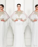 Cheap Arabic Dubai ABAYA KAFTAN white 2015 New Zuhair Murad Muslim Dress Poet Long Sleeve With Beaded Chiffon Evening Dresses formal prom gowns