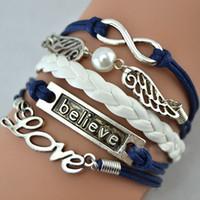 achat en gros de amour infini bracelet jésus-Infinity Believe Hunger Games Aile d'ancre Love Jesus Owl Multilayer Pattern Bracelet en cuir