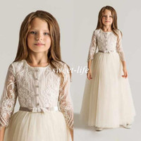 Girl green wedding gown - Latest Crew Lace Tulle Flower Girls Dresses For Wedding Long Sleeves Appliques Ruched New First Communion Kids Gowns Cheap Top Quality
