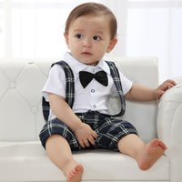 baby boy romper vintage - Baby Boys Gentleman Style Rompers Faux Bowtie Suspender One Piece Romper Vintage Checker Toddler Clothes Jumpersuit Tuxedo Clothing LIANTIYI