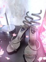 Wedding best high heel sandals - 2015 beautiful sexy crystal serpentine belt round high heel sandals wedding shoes bridal shoes best selling