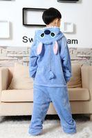 Wholesale blue Stitch Coral Fleece child onesies blue Stitch Pyjamas Warm jumpsuits Party Pajamas Outfit Costume Kid Cartoon Baby Animal Sleepwear