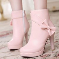 ladies high heel boots - Lovely Women Waterproof Platform Street Fashion Ladies High Heel Boots Dress Shoes Bows Formal Occasions White Beige Pink Avaliable