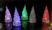 lights tree ornaments - Cool Christmas Halloween Tree Ornament Acrylic Crystal Colorful Mini Changing LED night light lamp Decoration