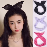 Wholesale Girls Variety Scarf Rabbit Ear Twist Wire Bow Ribbon Chiffon Headband Hair Band for Christmas anfd fast shipping