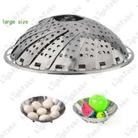 Wholesale Stainless Steel Folding Retractable Vegetable Steamer Bowl Fruit Storage Plates Tray Snack Nut Holder Large Size