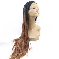 Trenzas grises oscuros España-Ombre negro gris oro marrón oscuro raiz caja micro trenzado sintético frente encaje peluca africa negro americano mujer brasileño pelo peluca
