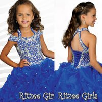 Cheap 2015 New Crystal Pageant Dresses For Little Girl Halter Beads Crystal Backless Ball Gown Ruffles Organza Custom Princess Flower Girl Gowns