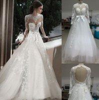 Wholesale 2015 White Ivory Bridal Luxury High Neckline Tulle Lace Wedding Dresses With Sheer Long Sleeve Bridal Dresses