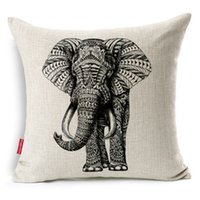 throw pillows square - Sofa Cushion Covers Beige Cotton Linen Square Decorative Throw Pillow Covers X Inch Cartoon Animal Style Abstract Elephant Pillowcases
