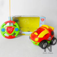 Wholesale Zorn Store Cartoon R C Race Car R Radio Control Toy With light and sound Mini steering wheel remote control car for Toddlers