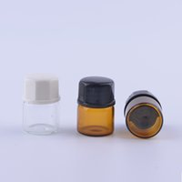Wholesale 2000pcs ml dram Amber Glass Essential Oil Bottle perfume sample tubes Bottle with Plug and caps CC Vial