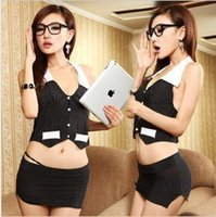 Wholesale Women s sexy Lingerie sets secretary or stewardess role playing and bar KTV uniform temptation DS costumes