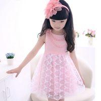 korea kids style - Korea Girl Summer Embroidered Dresses With Pearl Necklace Dress Princess Dresses Kids Clothes Summer Girl Dresses