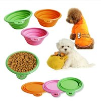 Wholesale Colorful Dog Cat Travel Bowl Dish Silicone Collapsible Portable Bowl Feeder New Colors
