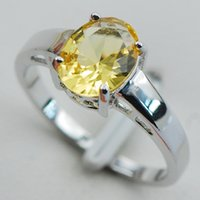 Cheap Citrine 925 Sterling Silver Wedding Party Attractive Design Ring Size 5 6 7 8 9 10 11 12 PR10 Min order is $10