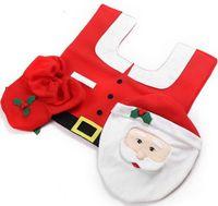 bathroom lid covers - Merry Christmas Decoration Ornaments Bathroom Santa Claus Toilet Tank Lid Cover Mats Navidad Holiday New Year Supplies Baubles set