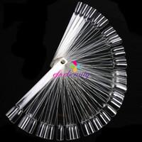 Wholesale 50 False Display Nail Art Fan Wheel Polish Practice Tip Sticks Nature Clear White SETS