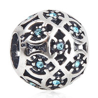 Wholesale Authentic ALE Pandora Bracelets Bead Sterling Silver Charms Blue Plaid Austrian Drill Round Beads Fits European Style Women Bracelets