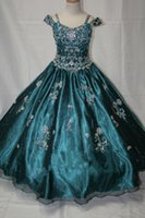 Cheap Real Image!! Green Spaghtti Glitz pageant dresses pageant dresses girls ball gown flower girl dresses for little girls infant pageant dress