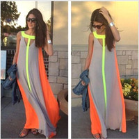 Wholesale 2016 Summer Casual Dresses Bright Color Patchwork Sleeveless Sundress Big Skirt Loose Long Dress Cheap Women Maxi Dresses